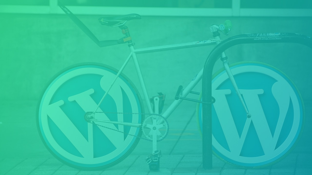 A Bike with a wordpress logo insteat of wheels